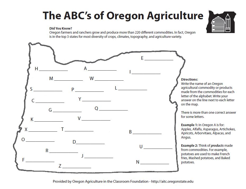 abc 39 s of oregon agriculture worksheet oregon agriculture in the classroom. Black Bedroom Furniture Sets. Home Design Ideas